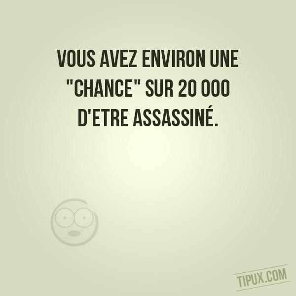 Vous avez environ une chance sur 20 000 d'etre assassiné.