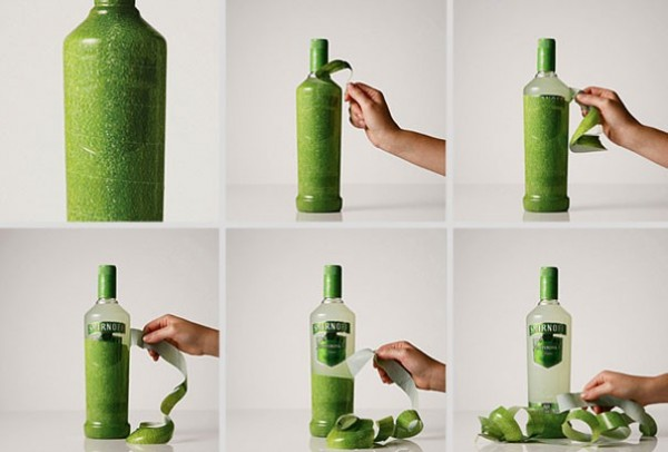 Une bouteille épluchable