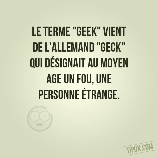 Le terme geek vient de l'allemand geck qui désignait au Moyen Age un fou, une personne étrange.