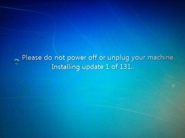 Devoir attendre les 131 mises à jour de Windows