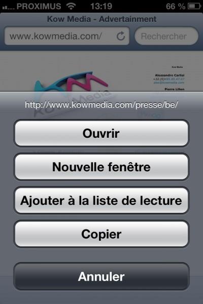 Afficher les options d'un lien Internet (navigateur)