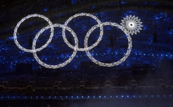 Les anneaux olympiques à la cérémonie d'ouverture