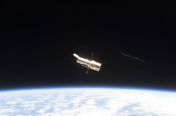 Hubble Space Telescope sporting new solar arrays during SM3B