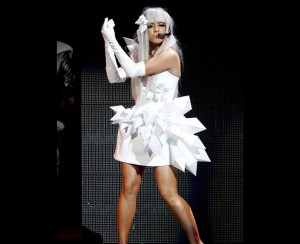 Voter pour Gaga in a white dress with matching crystal like appendages