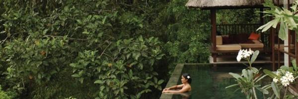Dans la piscine privée d'une suite de l'Ubud Hanging Gardens Hotel à Bali