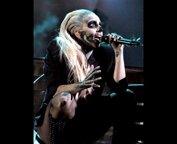 Lady gaga and her painted skull face