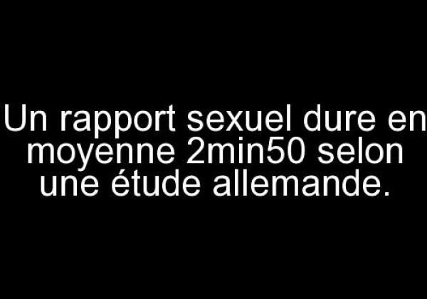 Un rapport sexuel dure en moyenne 2min50