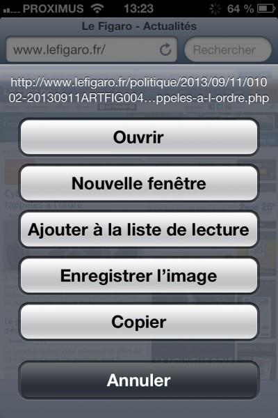 Sauvegarder une image sur une page Internet (navigateur)