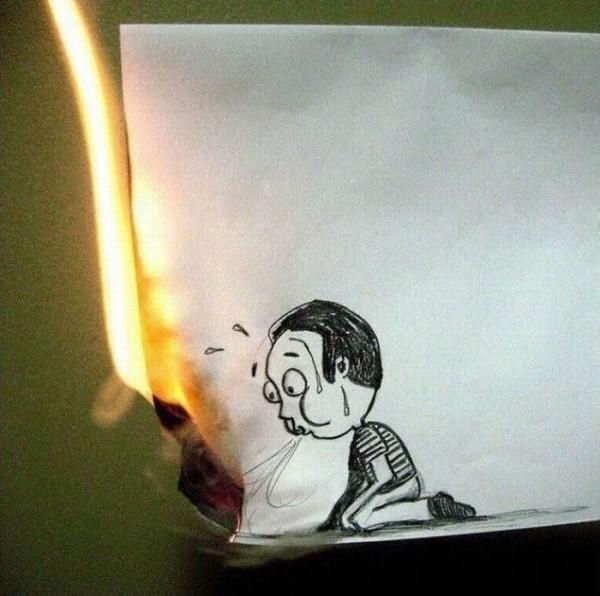 Feuille en feu