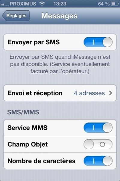 Afficher le nombre de caractères SMS (configuration)