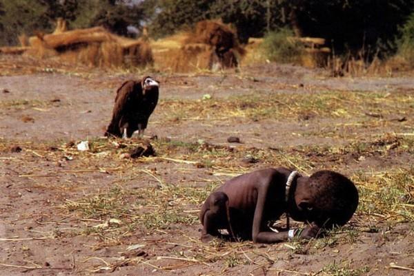 Un charognard surveille une petite fille soufrant de la famine, le photographe ayant reçu le  (...)