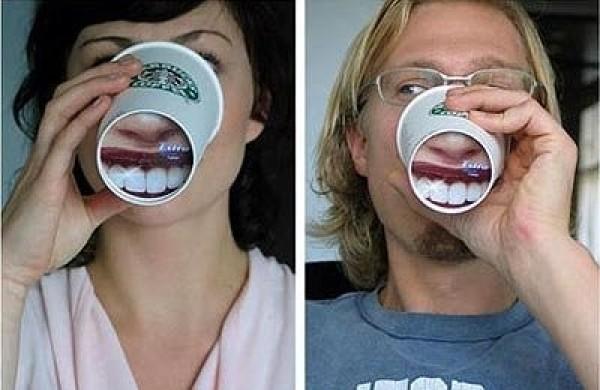 Fond de verre en forme de bouche