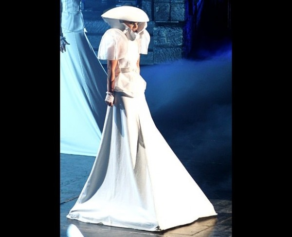 Gaga in her white ensemble with alien space age added details