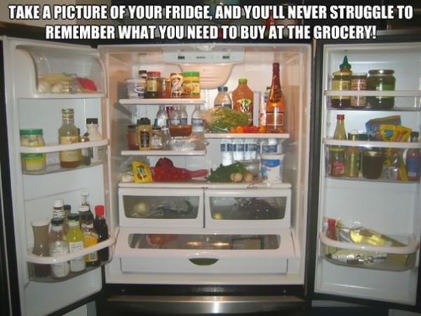 Prendre une photo du frigo avant de partir faire les courses