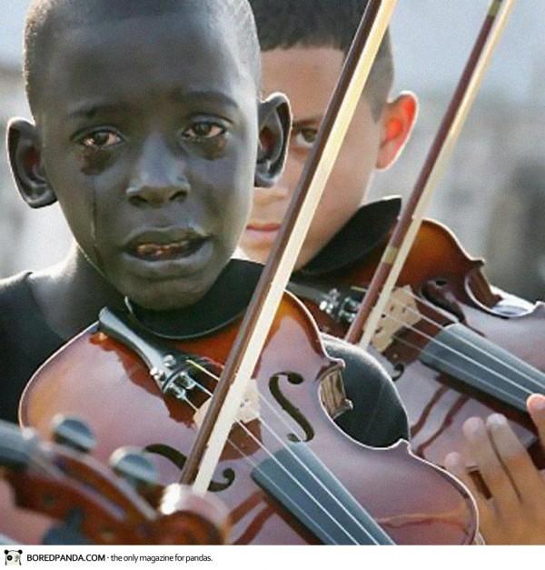 Diego Frazao Torquato, un brésilien de 12 ans qui joue du violon lors des funérailles de son (...)