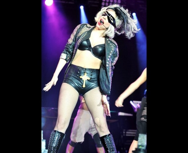 Mother Monster wearing black leather