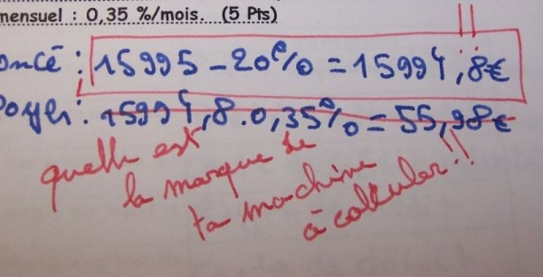Problème de calculatrice